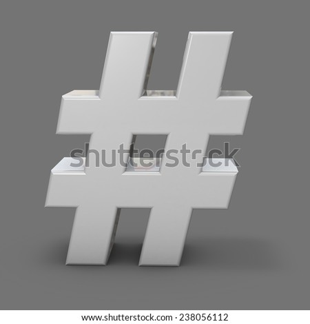 3d shiny metal hash tah, grey background, social media and communication abstract concept. - stock photo