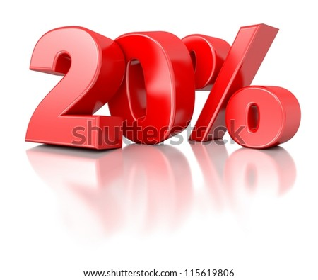 3d shiny red discount collection - 20 percent - stock photo