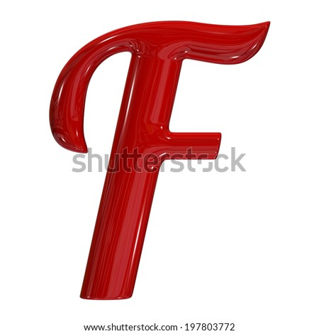 3d shiny red font made of plastic or ceramic - F letter - stock photo
