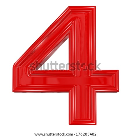 3d shiny red font made of plastic or ceramic - figure number four. Isolated on white. - stock photo