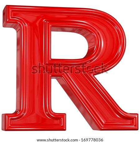 3d shiny red font made of plastic or ceramic - R letter - stock photo