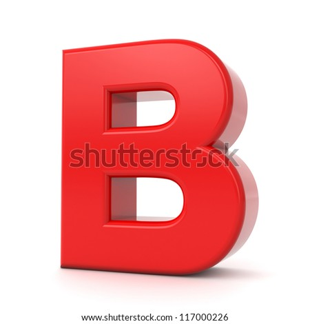 3d shiny red letter collection - B - stock photo