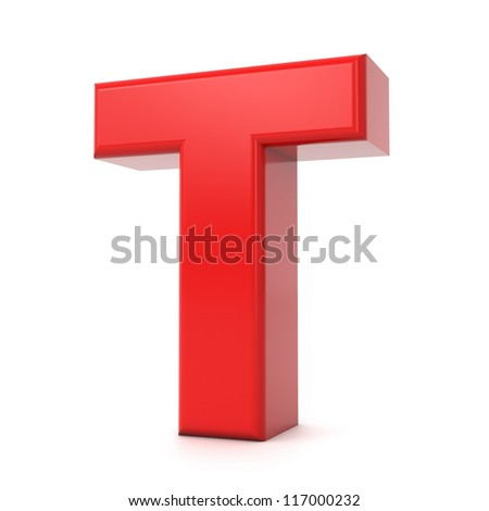 3d shiny red letter collection - T - stock photo