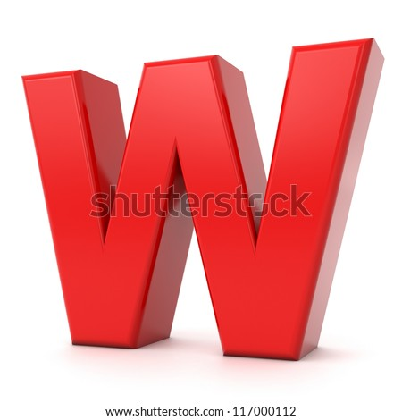 3d shiny red letter collection - W - stock photo