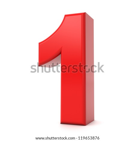 3d shiny red number collection - 1 - stock photo