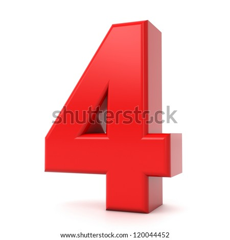 3d shiny red number collection - 4 - stock photo