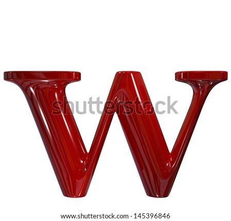 3d shiny red plastic ceramic letter collection - w - stock photo