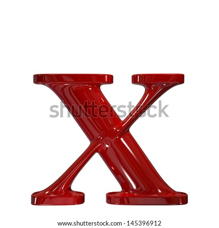 3d shiny red plastic ceramic letter collection - x - stock photo