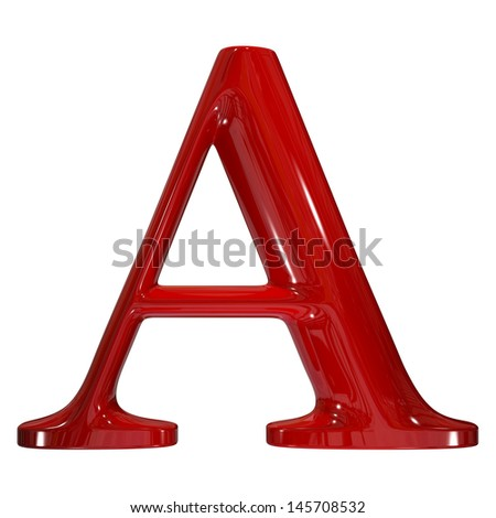3d shiny red plastic ceramic uppercase letter - A - stock photo