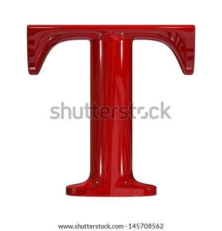 3d shiny red plastic ceramic uppercase letter - T - stock photo