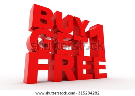 3D shiny Rendering of Red Buy one get one free word