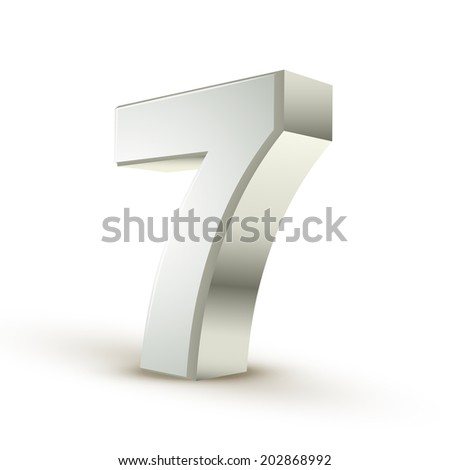 3d shiny silver number 7 on white background