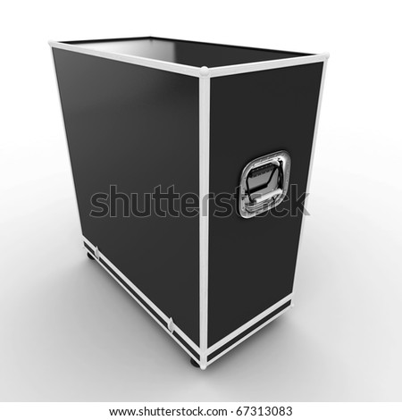 3d shipping  case box  isolated on white - stock photo