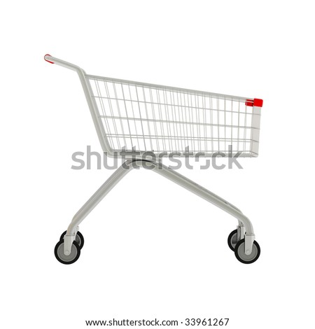 3D shop cart isolated on white. - stock photo