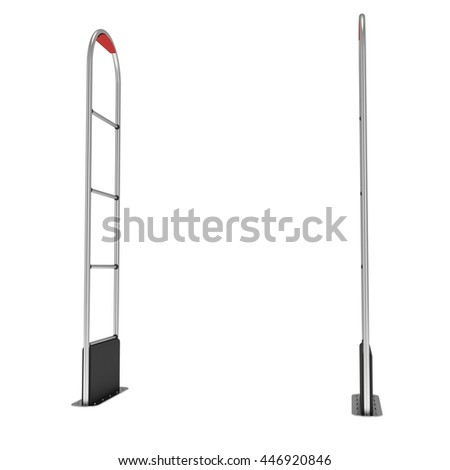 3D shop security anti-theft sensor gates. 3D render illustration of metal shoplifter scanner isolated on white background. Scanner entrance gate for prevent theft in shop or store. Security concept.