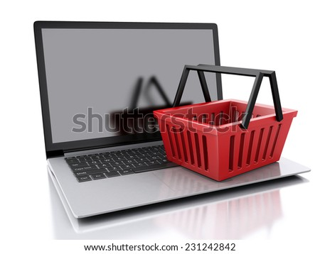 3d Shopping basket and laptop. Online shopping concept. isolated white background - stock photo