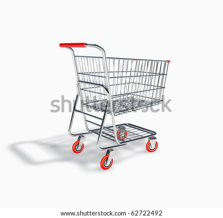 3D Shopping Cart Perspective View - stock photo