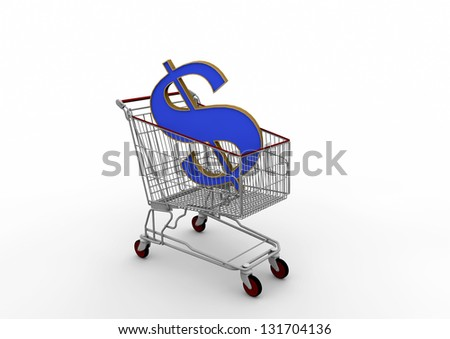 3D shopping cart with USA currency symbol in isolated white background