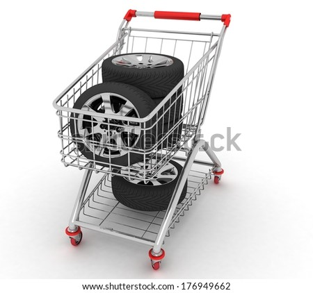 3D Shopping cart with wheels. Conception of purchase of repair parts for a car - stock photo