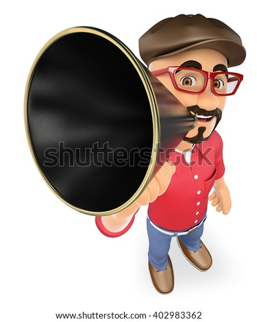 3d show business people. Film director talking on a megaphone. Isolated white background. - stock photo