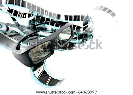 3D shutter glasses on film strip - stock photo