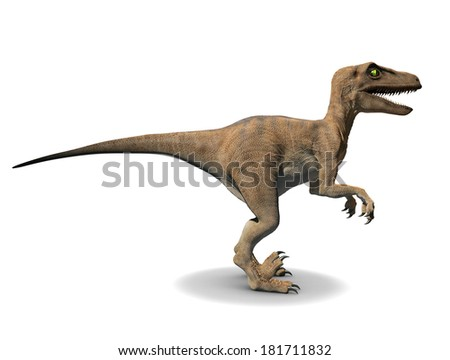 3d side view render of a velociraptor - stock photo