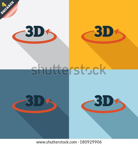 3D sign icon. 3D New technology symbol. Rotation arrow. Four squares. Colored Flat design buttons.