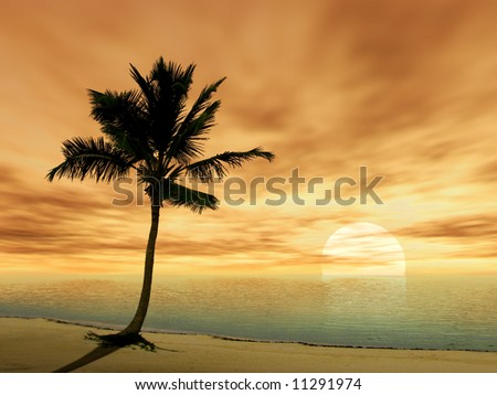 3D SILHOUETTE OF A PALM TREE IN A TROPICAL SEA SUNSET - stock photo