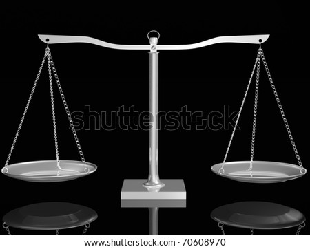 3D Silver balance on black isolated background - stock photo