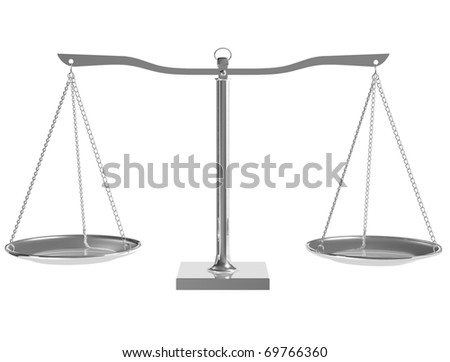 3D silver balance on white isolated background - render - stock photo