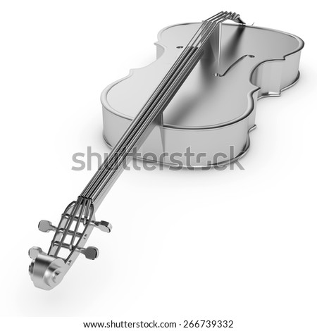 3d silver cello. Classical music instrument isolated - stock photo