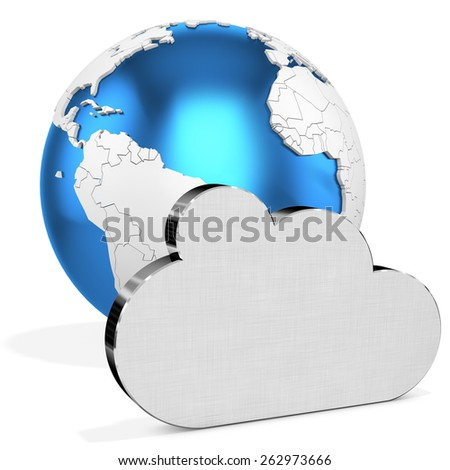 3d silver Cloud  with earth globe on white background - stock photo