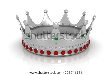 3d silver crown - stock photo