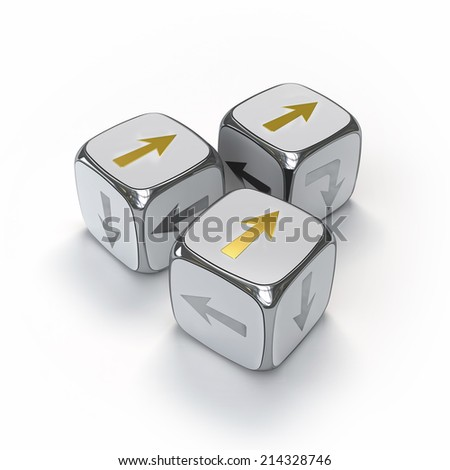 3D silver cubes with arrows pointing to direction. Concept illustration