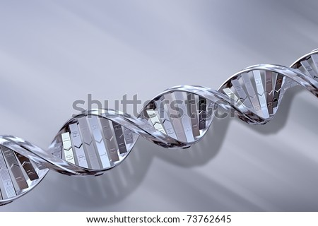 3D Silver DNA Strands on a Grey Background - stock photo
