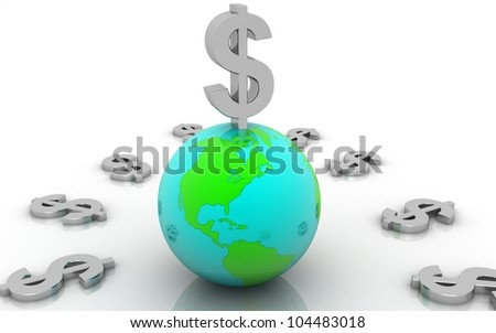3D silver dollar with earth concept