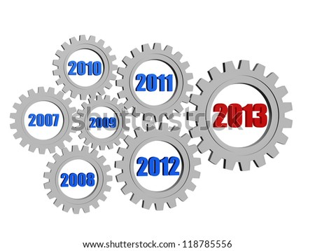 3d silver grey gearwheels with colored figures, business concept - new year 2013 and previous years - stock photo