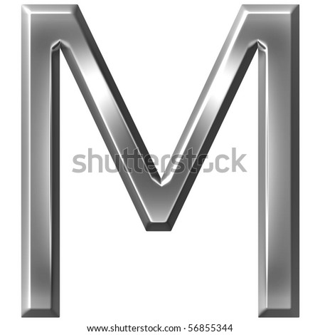 3d silver letter M - stock photo