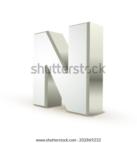 3d silver letter N isolated white background