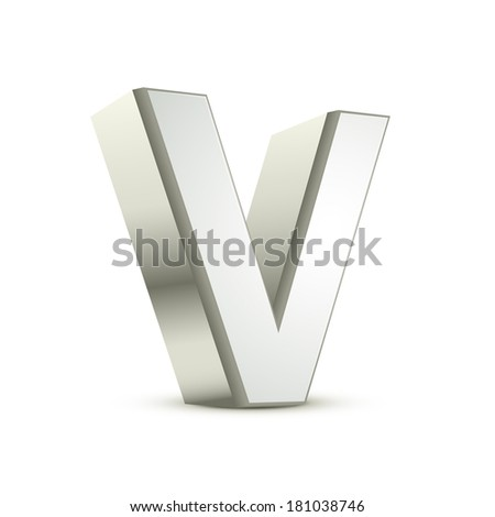 3d silver letter V isolated white background - stock photo