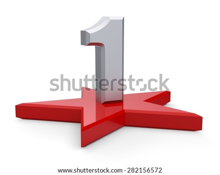 3d silver number 1 and star. One number and star - stock photo