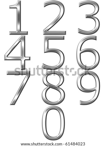 3d silver numbers - stock photo