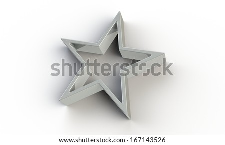 3d silver  star isolated on white