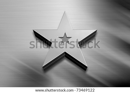 3D Silver Star on Grey Background - stock photo