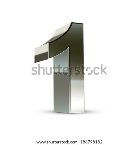 3d silver steel number 1 isolated white background