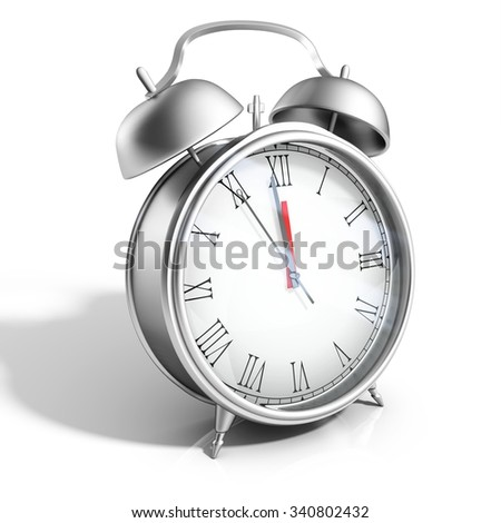 3d silver table clock on white background
