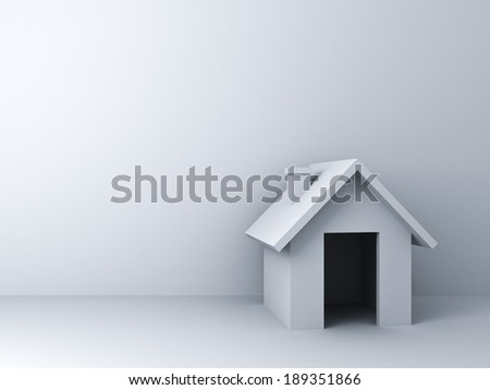 3d simple house model over white wall background with empty space - stock photo