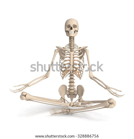 3d skeleton meditating - stock photo