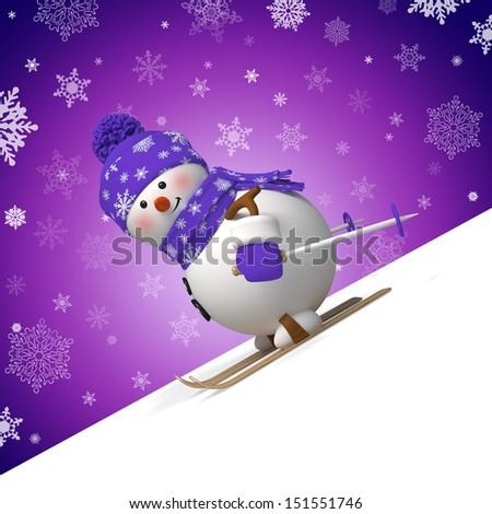 3d skiing snowman, blank Christmas corner - stock photo