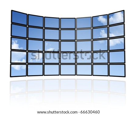 3D sky Wall of flat tv screens, isolated on white. With 2 clipping paths : global scene clipping path and screens clipping path to place your designs or pictures - stock photo